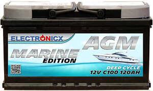 Electronicx Marine Edizione Batteria AGM 120AH 12V Barca Nave Versorgungsbatter