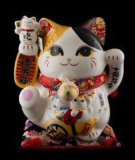 Grande tirelire Chat japonais Bobtail Maneki neko en Porcelaine Ø 27.5cm - 555