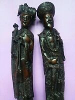 """Chinese Figurines Molded Resin Man & Woman Statue Approx 10"""" Tall"""