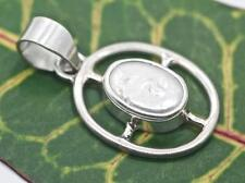 Handmade Mabe Pearl Small Oval Pendant Pendant w Solid Sterling Silver Setting.