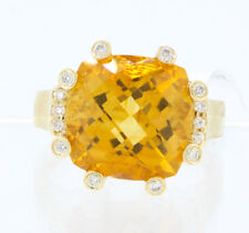 14K Yellow Gold Women's Natural Orange Citrine Center & White Diamonds Ring 6.5