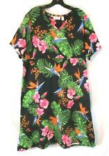 New Denim & Co. Empire V Neck Dress Tropical Floral XL Short Sleeve Women CBY14