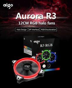 Aigo 12cm RGB Halo Fans 3 PCS set with controller R3 PC Case Fans