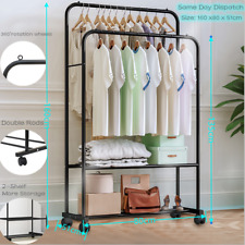 Rolling Heavy Duty Metal Clothes Rail Stand Hanging Rack Shoes Storage Shelves