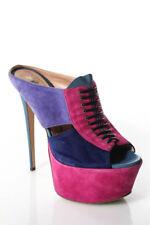 Gianmarco Lorenzi Purple Pink Suede Slip On High Slim Heel Pumps Size 37