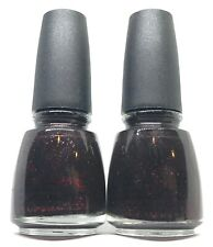 China Glaze Nail Polish Lubu Heels 601 Jelly Black Base with Red Glitter Lacquer