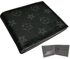 UK Mens Black Star Wallet Faux Leather ID Card Cash Zip Coin Pouch Unisex Gift