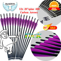 "12x 20""Archery Hunting Bolts arrows spine 400 Carbon Arrows for Longbow Crossbow"