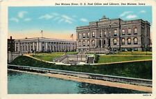 Des Moines Iowa~Post Office & Library~Police Station~1950 Postcard