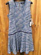 KARL LAGERFELD Bouclé Tweed Dress S 8UK / 36EUR / 40IT Blue NEW