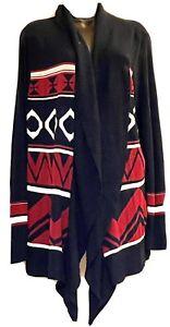 Allison Brittney 2X/3X NWOT Open Cardigan Sweater Navy Red White Southwest Aztec