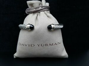 David Yurman 7mm Cable Classics Bracelet with Black Onyx and 14K Gold size Small
