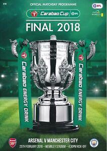 CARABAO LEAGUE CUP FINAL 2018 Manchester City v Arsenal - Official programme