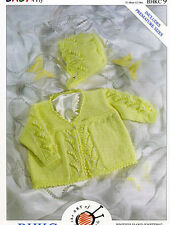 BABY  KNITTING PATTERN FOR matinee jacket and bonnet 14/1 in chest 4 ply