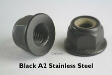 M6 NON SERRATED FLANGE NYLOC NUTS FLANGED NUTS BLACK A2-70 STAINLESS STEEL