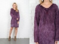 Vintage 80s 90s Purple Knit Dress Fringe Crochet Lace Slouchy Oversize S M