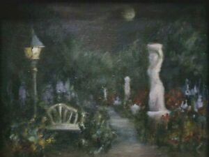 Moonlight Garden 7x9 original oil painting by Celene Farris, Maine. Tonalism