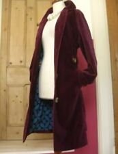 Boden Plum Purple Mulberry Velvet Trench Coat Big Button Jacket Womens 8 UK 4 US