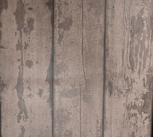 Arthouse Mahogany Dark Brown Wood Plank Panel Effect Wallpaper Paste the Wall