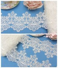 """3.5"""" Embroidered Tulle Lace Trim~Ivory White~Classic Beauty~Wedding/Bridal/DIY~"""