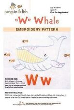 W is for Whale embroidery pattern by Penguin Fish Free Shipping