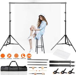 Photo Studio Background Support Stand Kit White Screen Backdrop Crossbar Set 2M