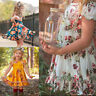 Toddler Baby Kids Girl Summer Ruched Ruffled Flower Party Princess Dress Clothes
