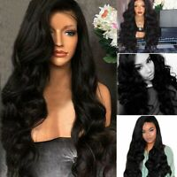 Fashion Long Natural Women Wavy Wig Dark Black Synthetic Curly Hair Cosplay Wigs