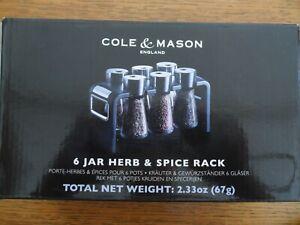 Cole & Mason 6 Jar Herb & Spice Rack NEW Free P & P