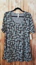 LuLaRoe Perfect T 2XL Gray Black Mint Geometric XXL Shirt NWT