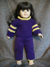 "18"" Doll Knitting Pattern will fit American Girl Raglan Jersey & Sweatpants"