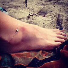 100% Sterling Silver Star Anklet Perfect Summer Jewelry
