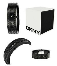 NEW DKNY BLACK TONE,CRYSTAL PVD PAVE,STAINLESS STEEL BRACELET,CUFF WATCH NY8298