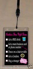 Personalised Hens Night VIP Pass and Dares Lanyard - Double Sided