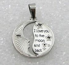 """""""I Love You to the Moon and Back"""" Stainless Steel Pendant Necklace Silver New"""