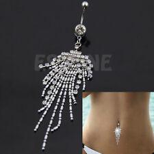 Hot Rhinestone Tassel Navel Dangle Button Belly Ring Bar Body Piercing Jewelry
