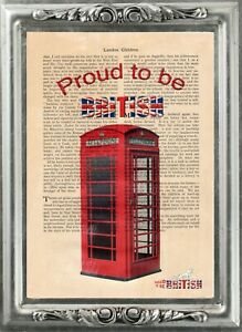 Red Telephone phone Box antique book page art print Proud to be British 3