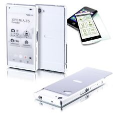 Aluminum Bumper 2-piece Silver+0,3 H9 Tempered Glass for Sony Xperia Z5 Compact