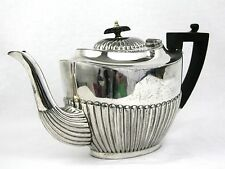 Antique Silver Plated Teapot Queen Anne Style Ebony Finial 2.5 Pints c.1900