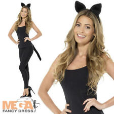 Adult Cat Kit Ladies Fancy Dress Ears Tail Animal Pet Womens Costume Accessory