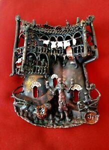 Old Metal Art Panel 3D Hand Crafted Sculpture Figurative Folk Art Domestic Scene