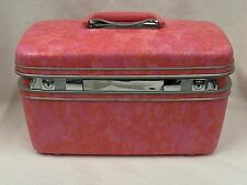 Samsonite Pink Salmon Makeup Case Marbled Hard Cover Cosmetic Luggage Suitcase