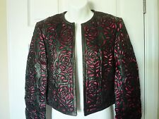 ESCADA Women's Size 8 38 Medium Laser Cut Nappa Leather Coat Jacket Black $2595