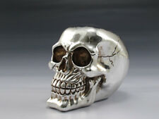 CHROME PLATED SILVER SKULL SKELETON HEAD  FIGURINE STATUE  HALLOWEEN