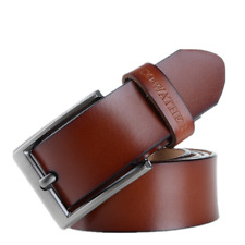 Mens Classic Metal Buckle Handcrafted Cowskin Genuine Leather Jean Business Belt