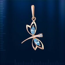 Dragonfly TOPAZ Pendant  russian solid rose gold 585 /14k beautiful NWT Lovely