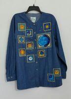 The Quacker Factory Denim Blouse Top Blue Button Down Cotton Womens Size L NWT