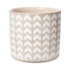 """NEW 5"""" White and Grey Geometric Patterned Planter Pot Hipster Decor 30042122"""