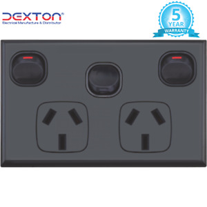 Black Double Power Point 10A with Extra Switch 16A Standard FREE DELIVERY
