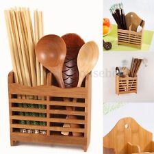 Bamboo Cutlery Holder Drainer Storage Spoon Chopsticks Organizer Drying Rack